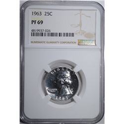 1963 WASHINGTON QUARTER NGC PF-69