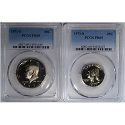 1971-S QUARTER AND HALF PCGS PR-69