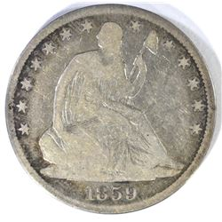 1859-O SEATED HALF DOLLAR VG