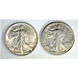 1942 & 43 WALKING LIBERTY HALVES, CH BU