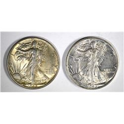 1945-S & 1945  WALKING LIBERTY HALF DOLLARS