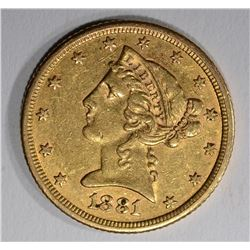 1881 $5.00 GOLD LIBERTY, XF/AU