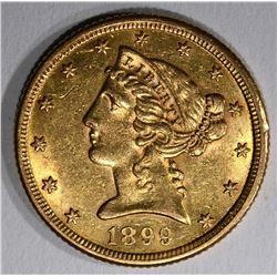 1899-S $5.00 GOLD LIBERTY, BU