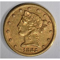 1882 $5.00 GOLD LIBERTY, XF/AU