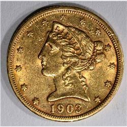 1903-S $5.00 GOLD LIBERTY, BU