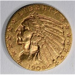 1909 $5.00 GOLD INDIAN, AU/UNC