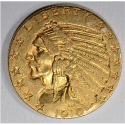 1910 $5.00 GOLD INDIAN, AU