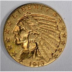 1913 $5.00 GOLD INDIAN, AU
