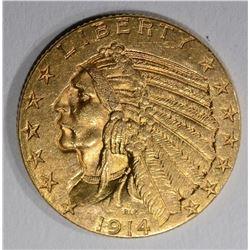 1914 $5.00 GOLD INDIAN, AU/UNC
