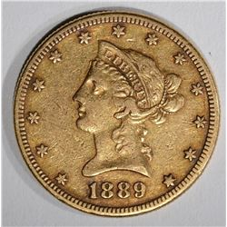 1889-S $10.00 GOLD LIBERTY, XF