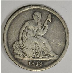 1838-O SEATED LIBERTY DIME  VF