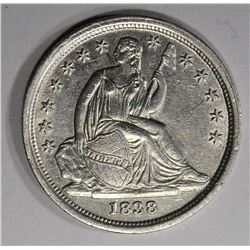 1838 SEATED LIBERTY DIME  BU