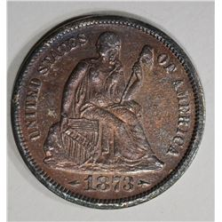 1873-S ARROWS SEATED LIBERTY DIME  AU+