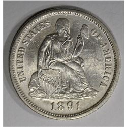 1891 SEATED LIBERTY DIME  CH BU