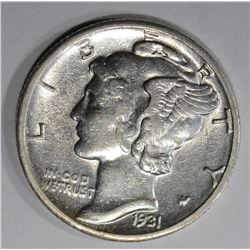 1931-D MERCURY DIME  AU/BU