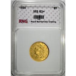 1834 $5.00 GOLD LIBERTY RNG CH BU+