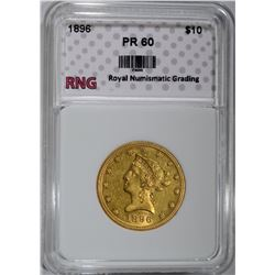1896 $10.00 GOLD LIBERTY RNG PROOF