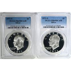 2 - 1971-S SILVER IKE DOLLARS PCGS PR69DCAM