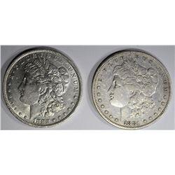 2 MORGAN DOLLARS:  1881-S VF &