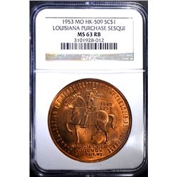1953 MO HK-509 SO CALLED DOLLAR, NGC MS-63 RB
