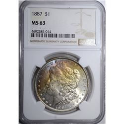 1887 MORGAN DOLLAR, NGC MS-63 RAINBOW TONE