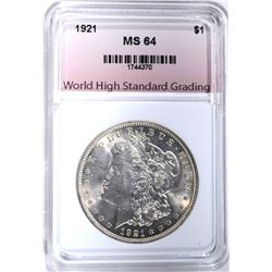 1921 MORGAN DOLLAR, WHSG CH/GEM BU