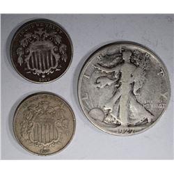 LOT: 1868 VF & 1869 F NICKELS; 1927-S