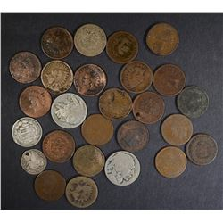 LOT: 26 LOW GRADE/DAMAGED TYPE COINS