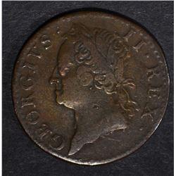 1760 HIBERNIA NICE GRADE, U.S. COLONIAL
