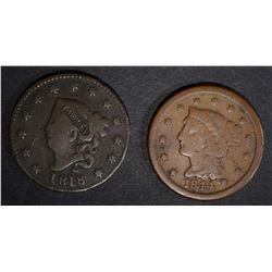1844 VG & 1818 VG Rev Pitted LG CENTS