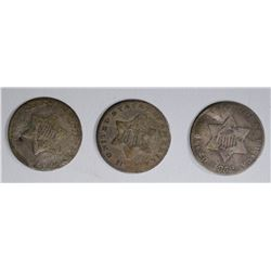 3 THREE CENT SILVERS; 2 -SLIGHTLY BENT