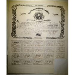 1861 $100 CONFEDERATE WAR BOND WITH 19-COUPONS, VF