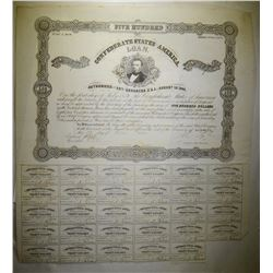 1861 $500 CONFEDERATE WAR BOND/29-COUPONS, VF