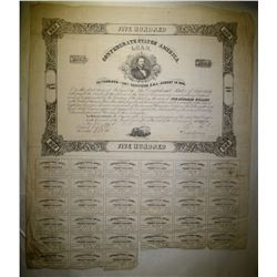 1861 $500 CONFEDERATE WAR BOND 33-COUPONS FINE
