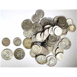 $20 90% SILVER MIX: DIMES & QUARTERS 1964/EARLIER