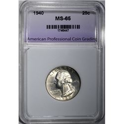 1940 WASHINGTON QTR APCG GEM BU