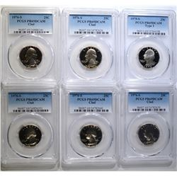 6 PCGS GRADED PR 69 DCAM WASHINGTON QTRS