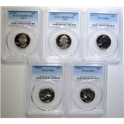 5-PROOF WASHINGTON QUARTERS ALL PCGS GRADED
