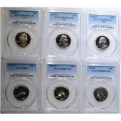 6 PROOF WASHINGTON QUARTERS ALL PCGS