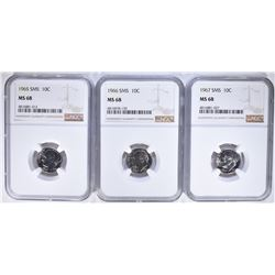 1965, 1966, 1967 SMS DIMES NGC MS68