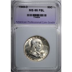 1949-D FRANKLIN HALF DOLLAR, APCG GEM FBL