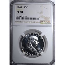 1961 FRANKLIN HALF DOLLAR, NGC PF-68