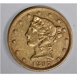 1897 $5.00 GOLD LIBERTY, XF/AU