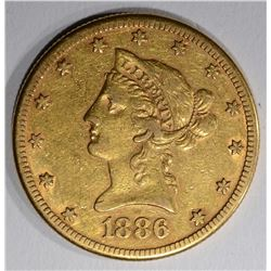 1886-S $10.00 GOLD LIBERTY, XF/AU