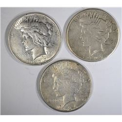 3 PEACE DOLLARS:  1926-S XF, 1927 XF &