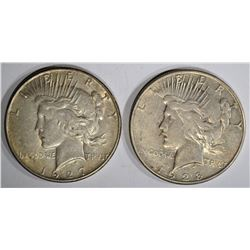 1927-S XF & 1928-S VF PEACE DOLLARS