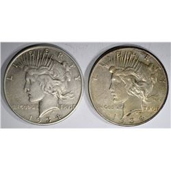 1934-D XF & 1934-S VF PEACE DOLLARS