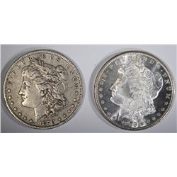 2 MORGAN DOLLARS:  1879-O VF &