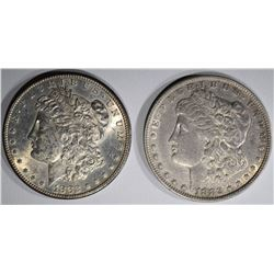 2 MORGAN DOLLARS:  1882-O XF-AU &