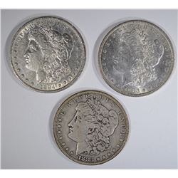 3 MORGAN DOLLARS:  1883 VG,